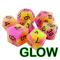 Witch's Brew Dice - Glow-in-the-Dark  - 7 Polyhedral Set