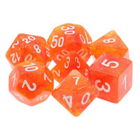Peach Sunrise Orange Glitter Dice - 7 Polyhedral (Resin)