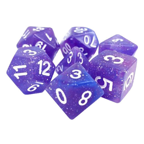 Purple Twilight Galaxy Glitter Dice - 7 Polyhedral Set (Resin)