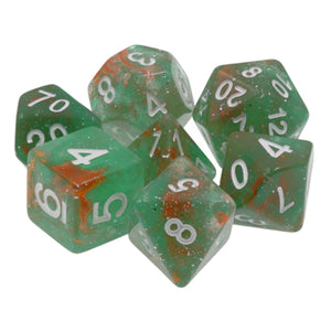Orion Nebula Green and Red Galaxy Glitter Dice - 7 Polyhedral Set (Resin)