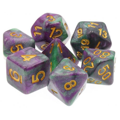 Could-Be-Fluorite Dice - Purple & Green Marbleized   - 7 Polyhedral Set