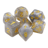 Silver Storm Dice - Silver Glitter Filled - 7 Polyhedral Set (Resin)