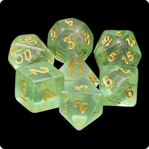Green Sea Glass Dice - Green Iridescent - 7 Polyhedral Set (Resin)