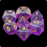 Violet Sea Glass Dice - Purple Iridescent - 7 Polyhedral Set (Resin)