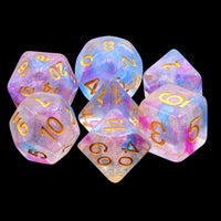 Violet Storm - Blue & Purple Iridescent Swirls - 7 Polyhedral Set (Resin)
