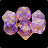 Electric Iris - Purple Iridescent Glittery Swirls - 7 Polyhedral Set (Resin)
