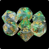 Luminous Venom Dice - Green & Black Glittery Swirls - 7 Polyhedral Set