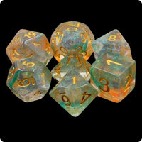 Luminous Koi Dice - Teal & Orange Glittery Swirls - 7 Polyhedral Set