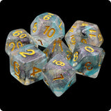 Luminous Shade Dice - Purple & Blue Glittery Swirls  - 7 Polyhedral Set