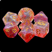 Luminous Ruby Translucent Dice - 7 Polyhedral Set (Resin)