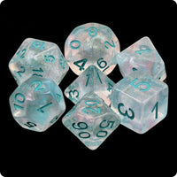 Winter Walker Dice - Iridescent Pink & Blue Swirls - 7 Polyhedral Set (Resin)