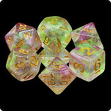 Dragon's Breath Dice - Magenta & Green Glittery Swirls - 7 Polyhedral Set