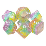 Fairy Stripe Dice - Pastel Iridescent Stripes - 7 Polyhedral Set (Resin)