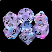 Ceremonial Chrome Dice - Purple & Blue Swirls with Glitter - 7 Polyhedral Set (Resin)
