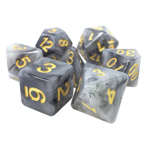 Black and Gray Marbleized Dice - 7 Polyhedral Set (Resin)