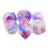 Tyrian Fog Dice - Dark Blue and Fuchsia in White - 7 Polyhedral Set (Resin)