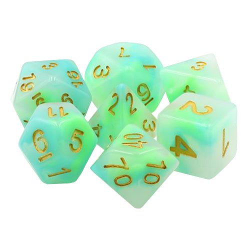 Golden Luck Dice - Green and Blue in White - 7 Polyhedral Set (Resin)
