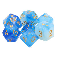 Lake Vostok Dice - Blue and White Milky Swirl - 7 Polyhedral Set (Resin)