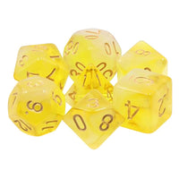 Lemon Sugar Dice - Yellow and White Milky Swirl - 7 Polyhedral Set (Resin)