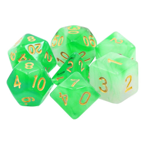 Witch Fire Dice - Green and White Milky Swirl - 7 Polyhedral Set (Resin)