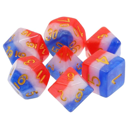 Old Glory Striped Patriotic Dice - 7 Polyhedral Set (Resin)
