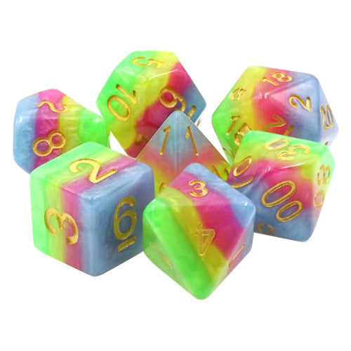 Spring Festival Dice - Green, Yellow, Red, & Blue Stripes - 7 Polyhedral Set