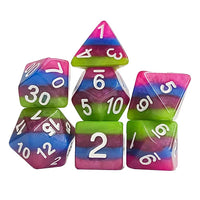 Alien Slime Striped Dice - 7 Polyhedral Set (Resin) (OOP)
