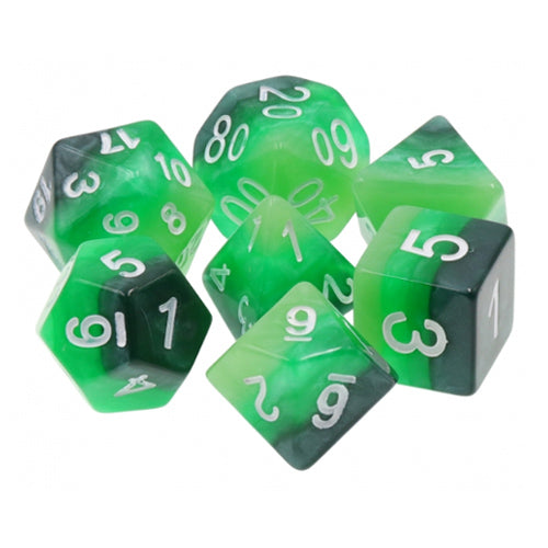 Green Gradient Dice - 7 Polyhedral Set (Resin)