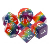 Rainbow Striped Opaque Dice - 7 Polyhedral Set (Resin)