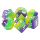 To Infinity . . . Purple, Green, and Yellow Striped Dice - 7 Polyhedral Set (Resin)