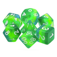Not-Quite Malachite Dice - Green Translucent Striped - 7 Polyhedral Set (Resin)