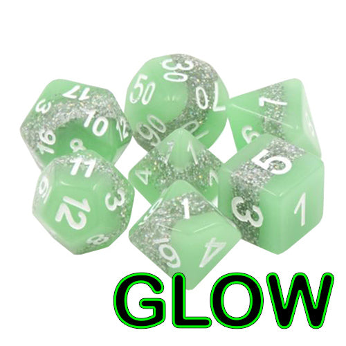 Neon Thunder Dice - Green Glittery Glow-in-the-Dark - 7 Polyhedral Set