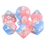 Cosmic Cotton Candy Dice - Pink, Blue, & Glitter Layers - 7 Polyhedral Set