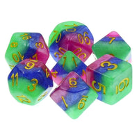 Jester's Gambit Dice - Iridescent Layers -  7 Polyhedral Set (Resin)