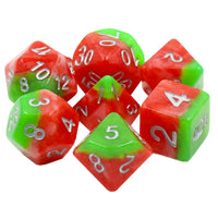Italian Ice Dice - Red and Green Layers - 7 Polyhedral Set (Resin)