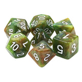 Green Marble Dice - Green Tone Marbleized   - 7 Polyhedral Set (Resin)