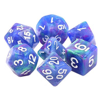 Muse Dice - Green and Purple Swirls in a Blue Base - 7 Polyhedral Set (Resin)
