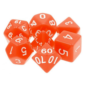 Orange Opaque Dice - 7 Polyhedral Set (Acrylic)