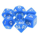 Blue Opaque Dice - 7 Polyhedral Set (Acrylic)