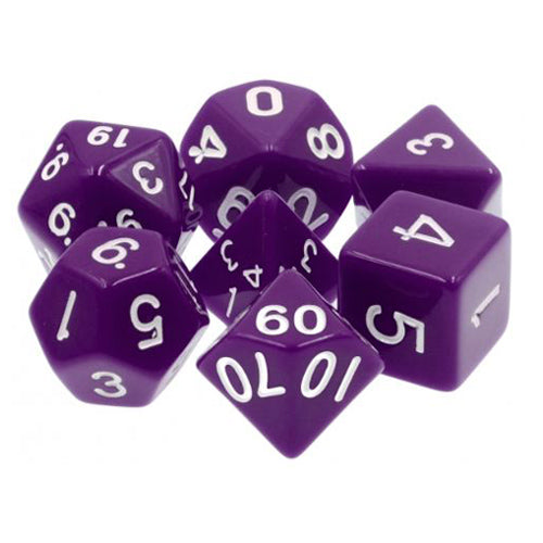 Purple Opaque Dice - 7 Polyhedral Set (Acrylic)