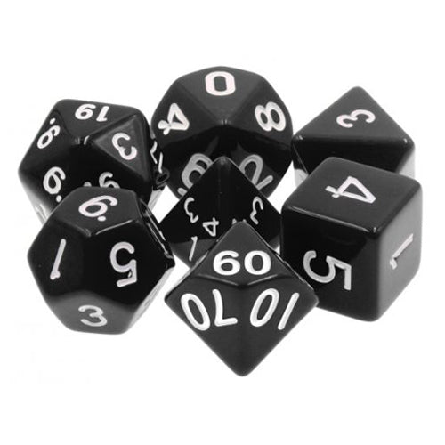 Black Opaque Dice - 7 Polyhedral Set (Acrylic)
