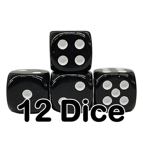Black Opaque 16mm Pipped d6 Dice (12 count)
