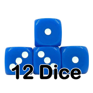 Blue Opaque 16mm Pipped d6 Dice (12 count)