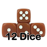 Brown Opaque 16mm Pipped d6 Dice (12 count)