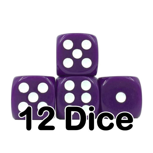 Purple Opaque 16mm Pipped d6 Dice (12 count)