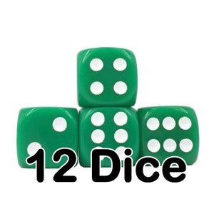 Green Opaque 16mm Pipped d6 Dice (12 count)