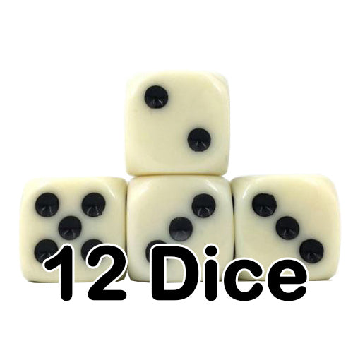Ivory Opaque 16mm Pipped d6 Dice (12 count)