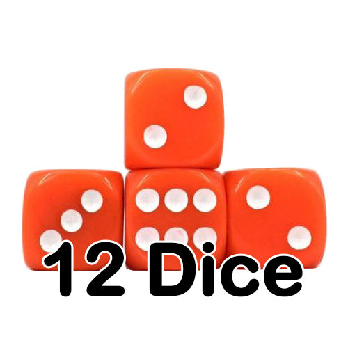 Orange Opaque 16mm Pipped d6 Dice (12 count)