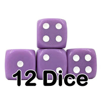 Lavender Opaque 16mm Pipped d6 Dice (12 count)
