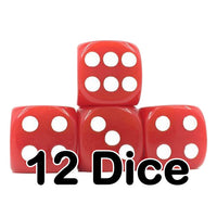 Red Opaque 16mm Pipped d6 Dice (12 count)